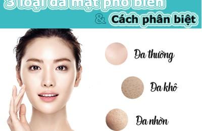 Top 3 loại da mặt phổ biến  và cách xác định da bạn thuộc loại nào?